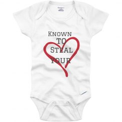 Known to steal hearts white infant onesie