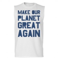 Make our planet great again mens blue tank top.