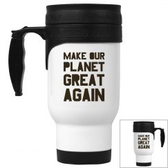 Make our planet great again brown travel mug.