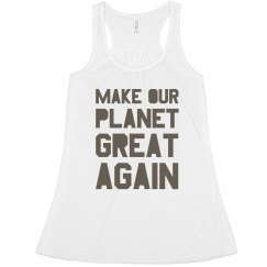 Make our planet great again brown women's tank top.