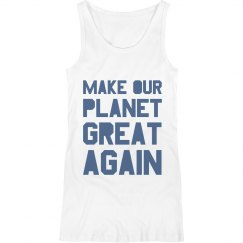 Make our planet great again blue maternity tank top.