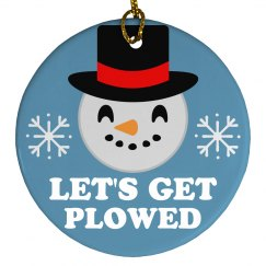Let's Get Plowed Emoji Ornament