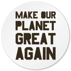 Make our planet great again brown circle coaster.