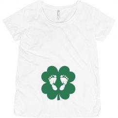 Green Shamrock Baby Foot Prints