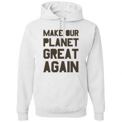 Make our planet great again brown hoodie.