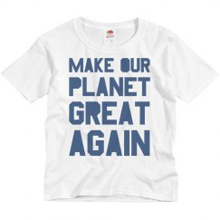 Make our planet great again blue kids shirt.