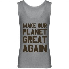 Make our planet great again brown kids tank top.