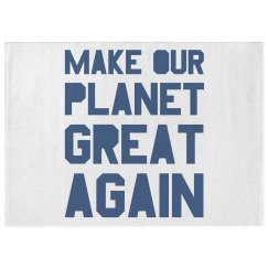 Make our planet great again blue dobby rug.