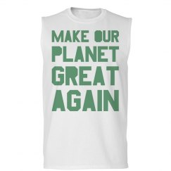 Make our planet great again light green men's tank top.