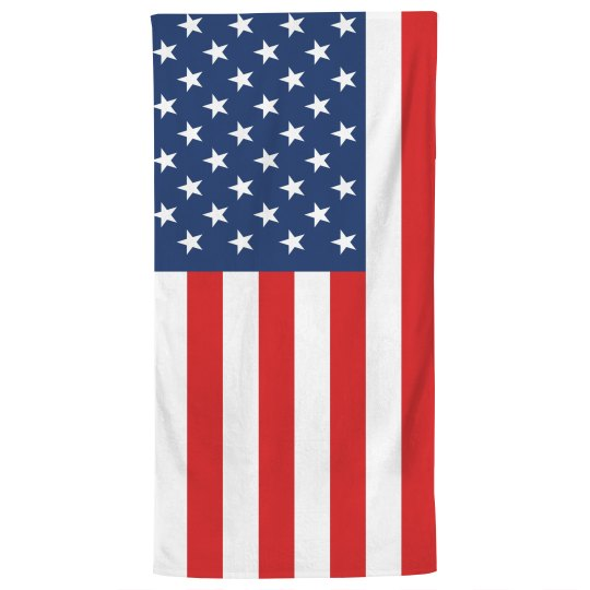 American Flag Print Bath Towel
