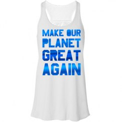 Make our planet great again blue metallic tank top.