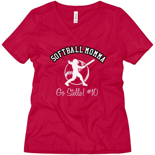 Softball Mom Tee Ladies Relaxed Fit V Neck T Shirt