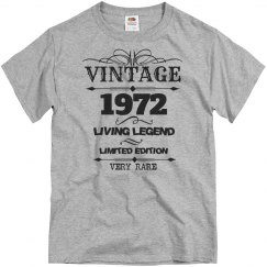 Vintage 1972 living legend very rare birthday shirt