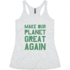 Make our planet great again light green junior tank top