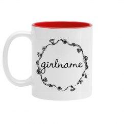 Cute Simple Floral Girlname Mug