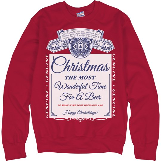 Beer Label Drinking Xmas Sweater