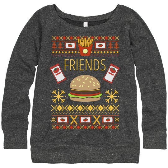 Best Friends Burger Ugly Sweater