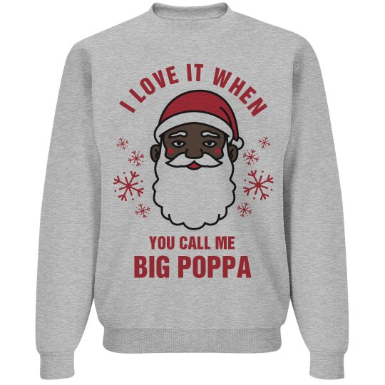 Big Poppa Black Santa Sweater