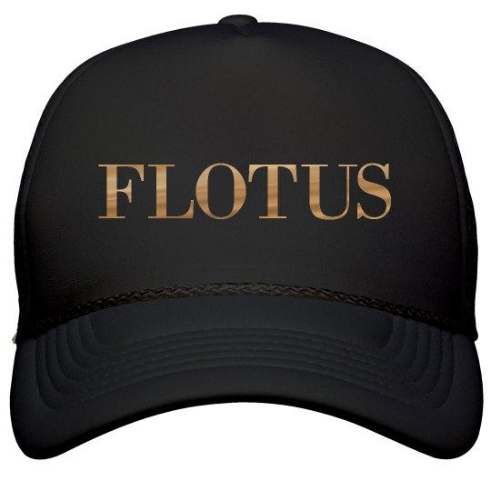 Black FLOTUS Cap With Metallic Text