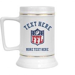 Custom Fantasy Football Team Draft Beer Stein