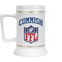 Fantasy Football League Commissioner Beer Stein Gift