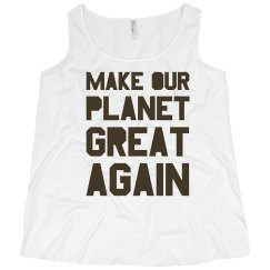 Make our planet great again brown plus size tank top.
