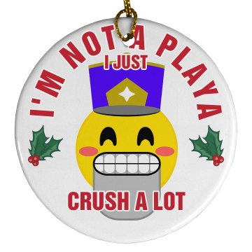 Crush A Lot Emoji Xmas Ornament