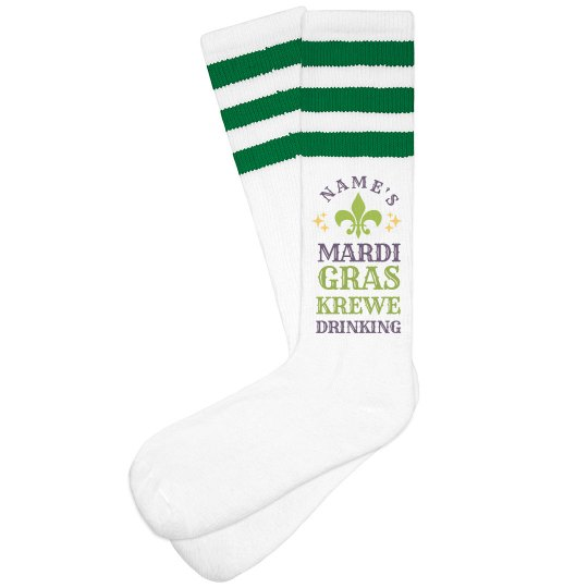Custom Mardi Gras Drinking Socks