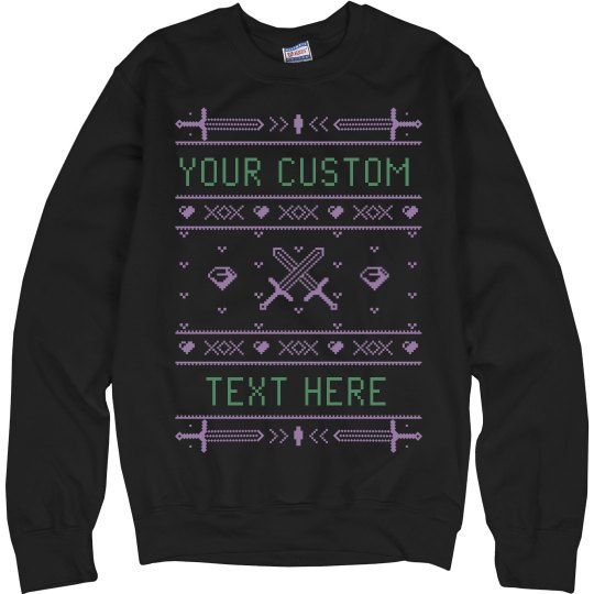CUSTOM MINE SWORDS UGLY SWEATER