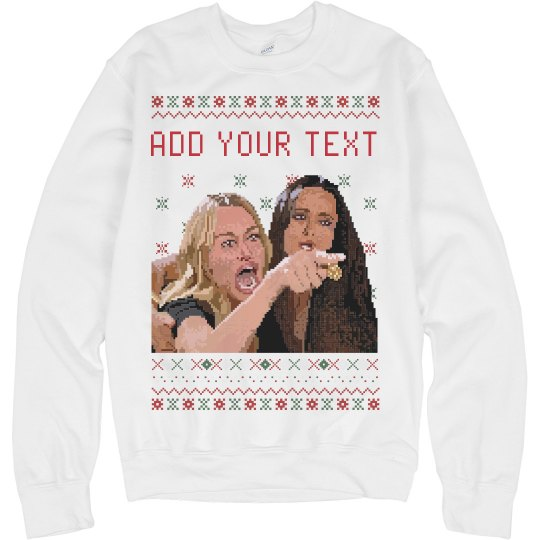 Custom Woman Yelling at a Cat Ugly Christmas Sweater