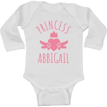 Cute Princess Abbigail Heart Onesie
