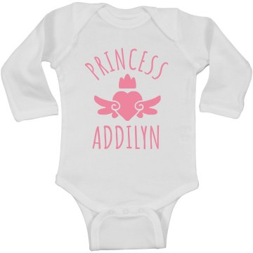 Cute Princess Addilyn Heart Onesie