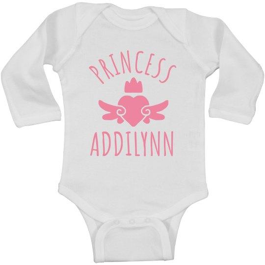 Cute Princess Addilynn Heart Onesie