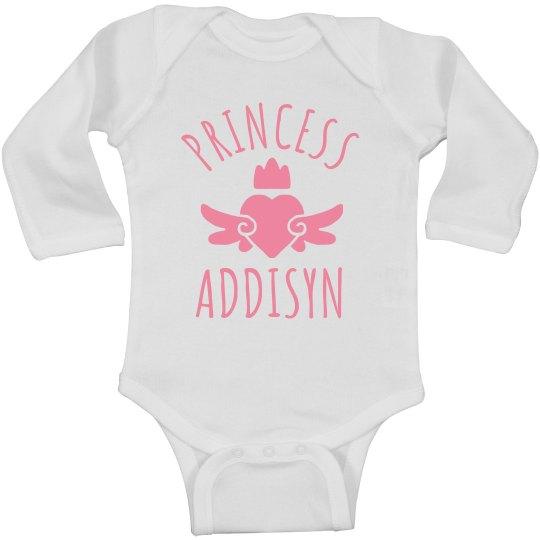 Cute Princess Addisyn Heart Onesie