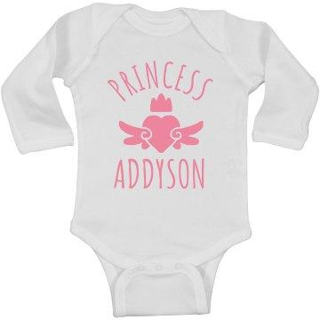 Cute Princess Addyson Heart Onesie