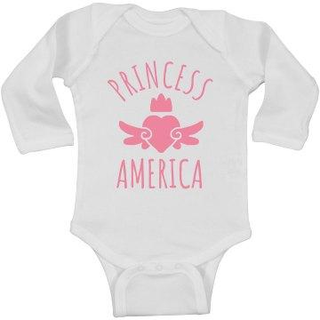 Cute Princess America Heart Onesie
