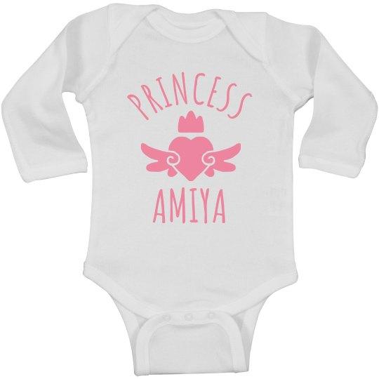 Cute Princess Amiya Heart Onesie