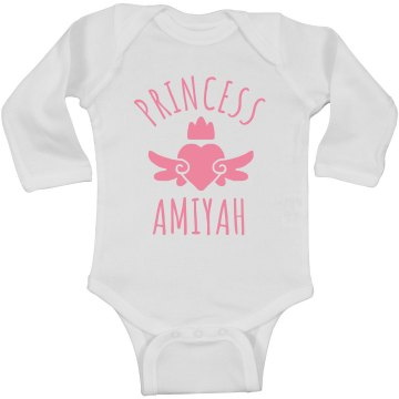 Cute Princess Amiyah Heart Onesie