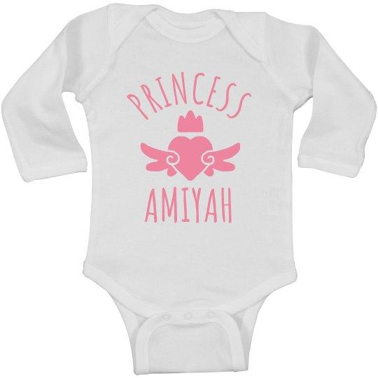 Cute Princess Amiyah Heart Onesie