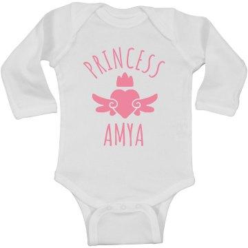 Cute Princess Amya Heart Onesie