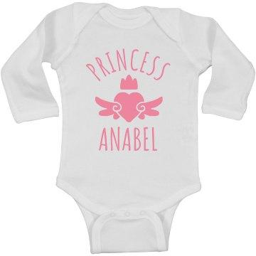 Cute Princess Anabel Heart Onesie