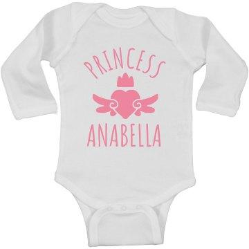 Cute Princess Anabella Heart Onesie