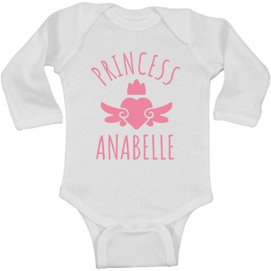 Cute Princess Anabelle Heart Onesie