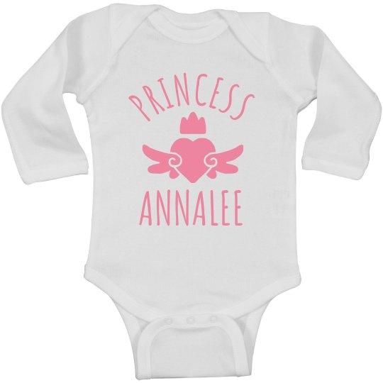 Cute Princess Annalee Heart Onesie