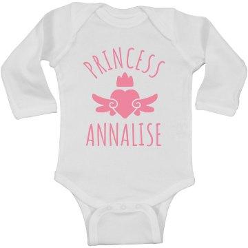 Cute Princess Annalise Heart Onesie