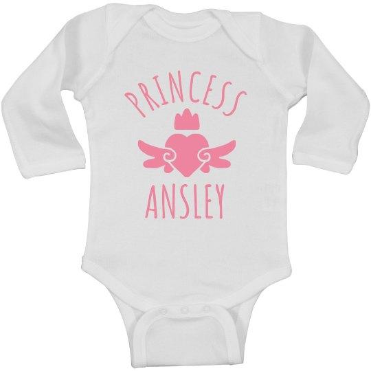 Cute Princess Ansley Heart Onesie