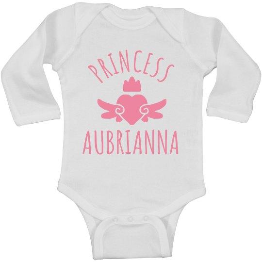 Cute Princess Aubrianna Heart Onesie