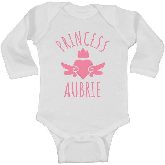 Cute Princess Aubrie Heart Onesie