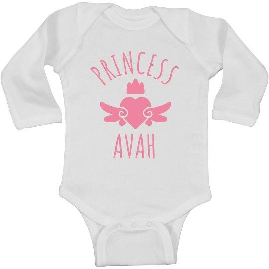 Cute Princess Avah Heart Onesie