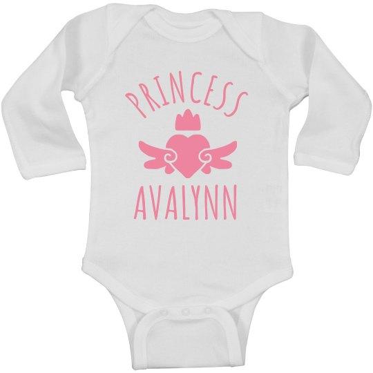 Cute Princess Avalynn Heart Onesie